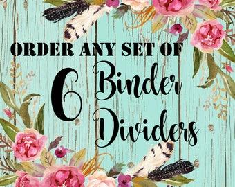 6 Recipe Binder Dividers / 8.5 x 11 Dividers / Custom Recipe Binder Dividers / 3 Ring Binder Dividers / Rustic Dividers / Modern Dividers