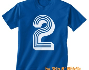 2nd BIRTHDAY -- KIDS T shirt -- soccer number 2 Size 2t, 3t, 4t, youth xs, yth sm, yth med, yth lg ( 7 COLORS ) skip n whistle