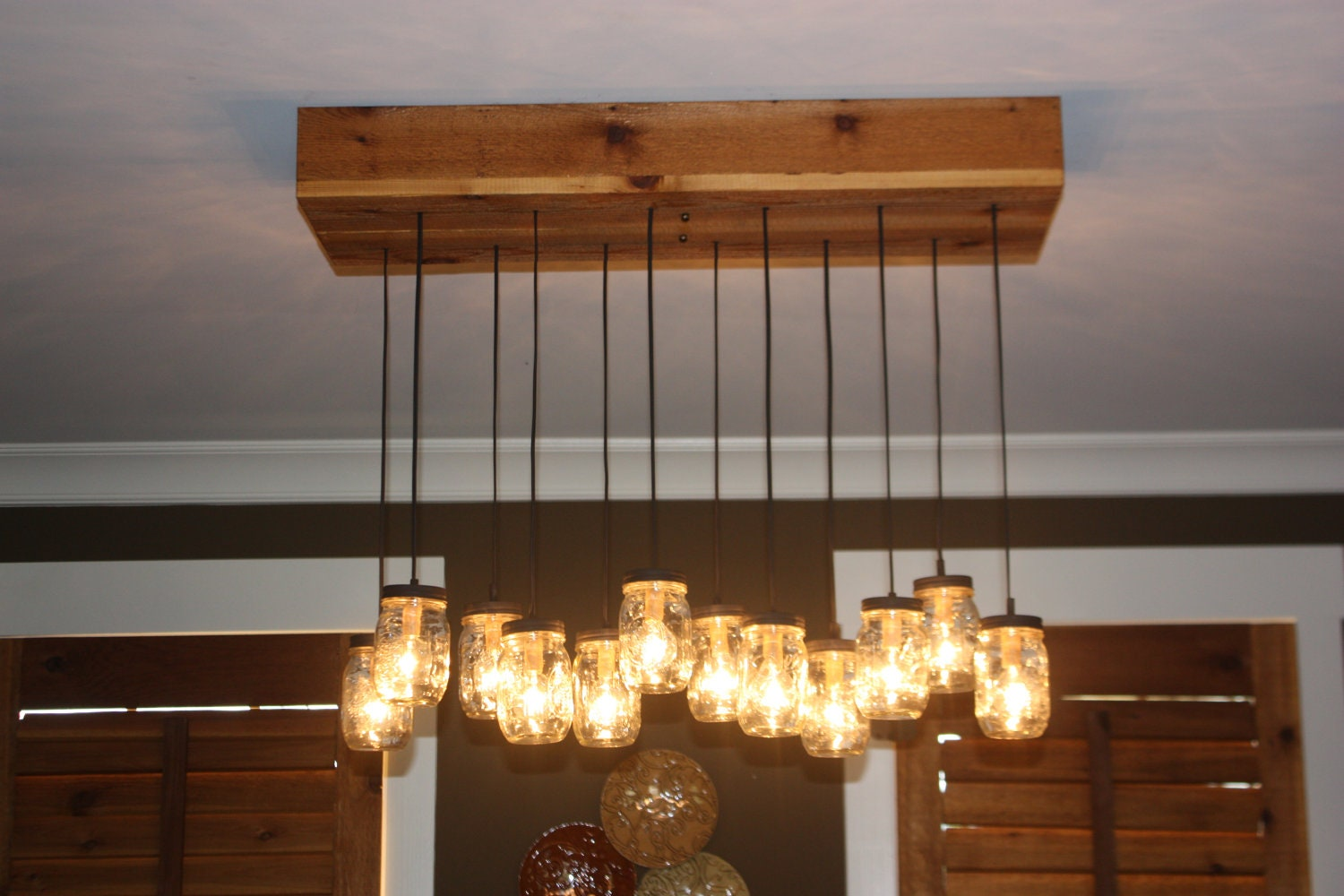 Mason jar chandelier with cedar base zoom arubaitofo Gallery