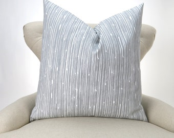 Gray Pillow Cover, Grey White, Cushion Cover, Accent Pillow, Euro Sham, Decorative Throw -up to 28x28 inch- Scribble Storm, Premier Prints