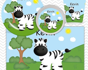 Zebra Plate, Bowl, Cup, Placemat - Personalized Zoo Dinnerware for Kids - Custom Tableware