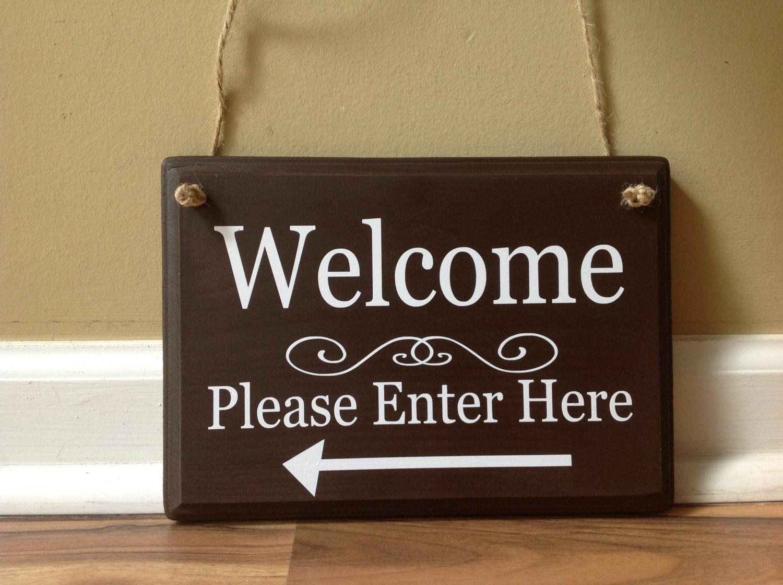 Welcome sign please enter here arrow front door wooden sign zoom rubansaba
