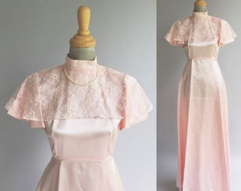 Vintage Light Pink Lace Draped Shoulder Satin Maxi Gown Dress (Size Small)