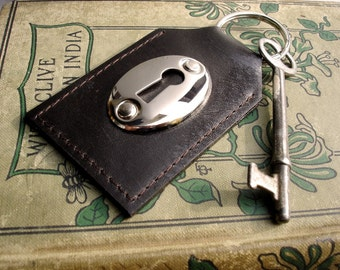 Brown Leather Keychain with Keyhole and Vintage Skeleton Key - Espresso Leather Key Fob