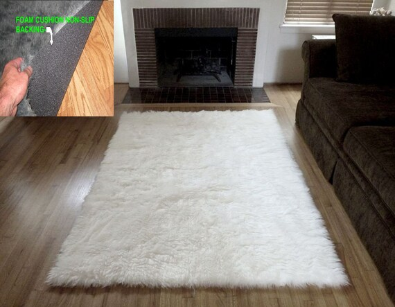 6 X 9 Off White Soft Faux Fur Rug Non Slip Anti