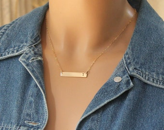 Delicate Gold Bar Necklace, Gold Bar Initial Necklace, Gold Necklace, Personalized Name Necklace, Custom Necklace