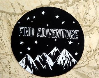 Find Adventure, Gloss Vinyl Sticker, Travel Sticker, Wanderlust, Mountains, Quote, Travel Journal, Camping, gift, Gap year, Laptop Stickers