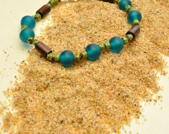 Capri Blue Fair Trade Resin Hand Knotted Lightweight Stacking Bracelet