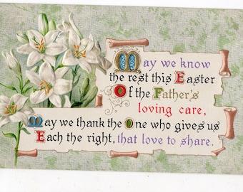Easter vintage postcard, Easter Greetings Vintage Postcard, Easter Lilies, verse, antique postcard