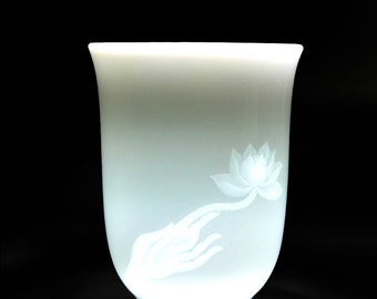 Handcraft Lotus High White Porcelain Tea Cups/Mug with 6.5oz