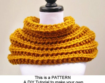 Instant Download Knitting Pattern PDF - Knit Cowl Pattern Scarf Knitting Pattern PDF for Elspeth Cowl Scarf Pattern - Womens Accessories