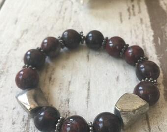 Maroon Jasper Silver Bracelet