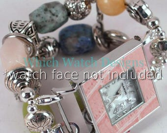 Pastel Jumble.. Pink, Blue, Green, Peach, Yellow and Tan Semi-Precious Stone, Interchangeable Watch Band