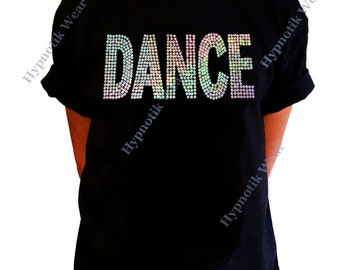 "Girls Sequence T-Shirt "" Silver AB Sequence Dance "" Size XS to XL"