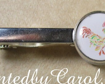 Rooster Tie Bar, Rooster Tie Tack, Rooster Tie Clip, Rooster Accessories, Rooster Jewelry, Rooster Mens Gifts, Year of the Rooster