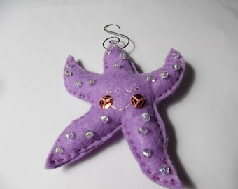 Felt Purple Starfish Christmas Ornament