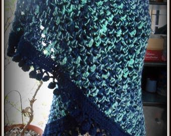 crocheted multicolor color and nice color finish blue shawl