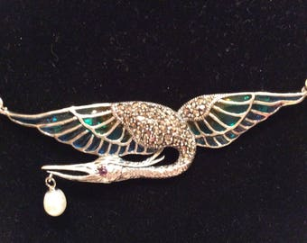 Art Deco Sterling silver pendant and pearl