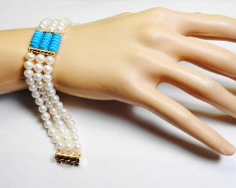 Pearl and Turquoise Bracelet.  14kt. Gold Fresh Water Pearl & Turquoise 7 inch Bracelet.