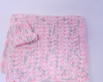 Crochet Newborn Hat & Blanket Set