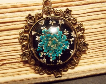Blue and Bronze Preserved Flower Necklace
