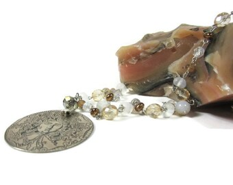 Statement jewelry, mythical Medusa-sun antiqued german silver pendant on glass+crystal beaded chain, agiftoflaughter .. tagt
