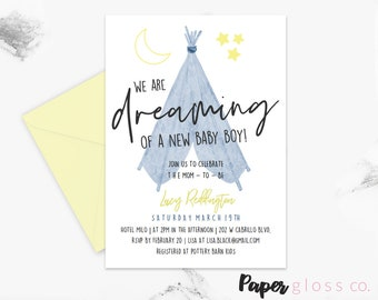Boho Baby Shower Invitation Boy, Tee pee, Invitation Template, Watercolor, Stars, Moon, Printable Invite, Instant Download