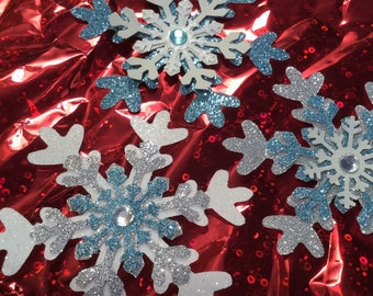 "Snowflakes, 3"", Set of 3 ~ Glittered, Layered Snowflakes in Light Blue, Gray, Silver & White, Bejeweled Triple Snowflakes, Baby Shower"