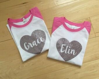Personalized Glitter Heart Raglan Tee - Name T-shirt - PINK xsmall, small, medium, large, xlarge