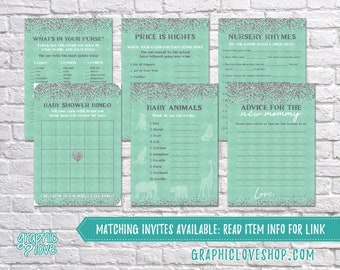 Printable Set of 6 Mint Silver Glitter Baby Shower Games & Advice for Mom Card | PDF, Instant Download, Ready to Print, NOT Editable