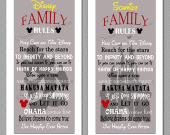 Yelllow/RED/Grey Disney Family Rules print 10x20