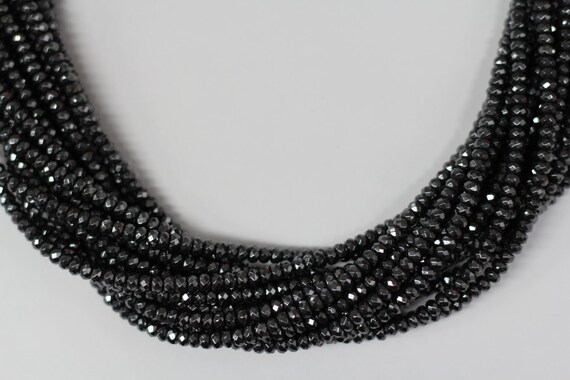"""Hematite 5x3mm faceted roundel beads 8"""" length strand"""