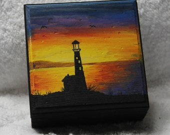 Lighthouse,JewelryBox,GiftBox,TrinketBox,SilhouetteLighthouse,TreasureBox,WoodenBox,LighthouseJewelry,LighthouseSilhouette,SunsetLighthouse