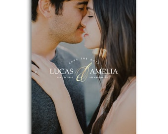 Save The Date Card - Engagement Announcement Card - Photoshop Template For Photographers - LUCAS & AMELIA - 1642