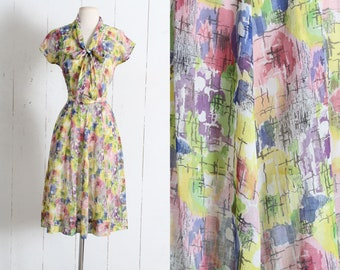 Vintage 1940s Dress | vintage 40s Gay Gibson cotton abstract rose print cotton dress | belted dress | xs/s/m