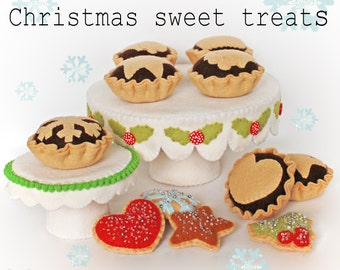 Christmas Sweet treats pdf pattern with Cake stand & mince pies, sew your own, wool felt, felt sewing, make your own, play food, felt food,