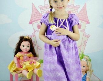 Tangled Princess Dress, Rapunzel Dress Disney Inspired Dress, Princess Dress Up, Girls Costume, Halloween Costume