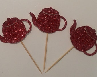 Sparkling teapot cupcake toppers