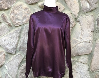 Vintage 80s Sandra Ow-Wing for N.R.1 Saks Fifth Avenue Shiny Purple High Collar Blouse / Made in the USA / Women's Size 10