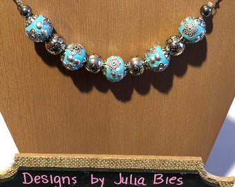 Chunky necklace in robins egg blue and silver