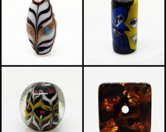 Four Colorful Focal Beads, Ceramic, Glass, & Amber Beads, Drilled Lengthwise, Oval, Cylinder, Barrel and Cube Shapes