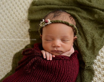 SET Burgundy Red Swaddle Sack Olive Green Stretch Knit Wrap Newborn Baby Photography Prop