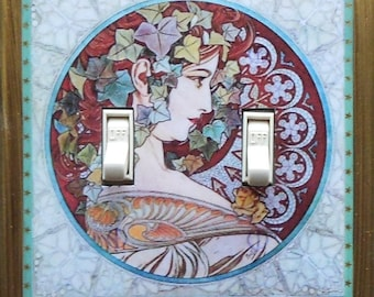 MATCHING SCREWS on Mucha double switchplate-s Mucha light switch covers Mucha Job art print Mucha wall decor Mucha light switch plate covers