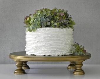 "Gold Cake Stand 18"" Wedding Cupcake Vintage Gold Cake Topper Rustic Wedding Decor E. Isabella Designs Featured In Martha Stewart Wedding"