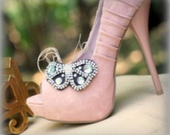 Butterfly Shoe Clips Brown / Ivory / White Handmade, Stylish Bride Bridal Bridesmaid, Elegant Stunning Delicate, Spring Rockabilly Couture