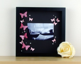 Personalised 3D Photo Frame - Butterfly Wall Art Photo Frame. Unique Gift Idea For An Anniversary Gift, Mothers Day Gift, Christening Gift