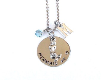 Mermaid At Heart- Personalized Jewelry Hand Stamped Mermaid Necklace Personalized Mermaid Gift Handmade