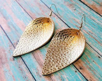 Leather earrings Joanna Gaines magnolia leaf folded leaf gold metallic leather earrings handmade Ready to ship!