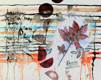 Autumn Abstract Mixed Media Art PRINT, Autumn wall hanging, Autumn art