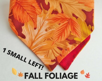 Reversible Dog & Cat Bandana: Autumn Fall Leaves Foliage print, Red Orange / Red Leaves [Scooped-Neck / Traditional Tie]